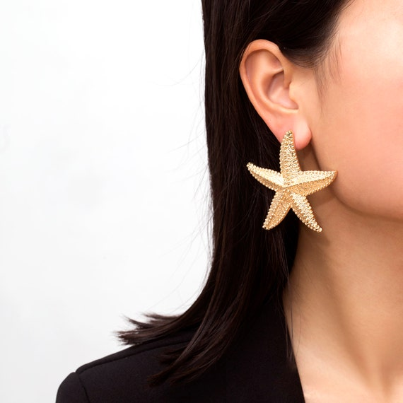 Trendy Starfish Earrings - Gold/Silver Tone Sea Star Earrings - Boho Chunky Star Earrings for Women and Girls