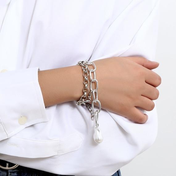 2 Pcs Trendy Gold Silver Tone Pearl Pendant Curb Link Chain Bracelet Set