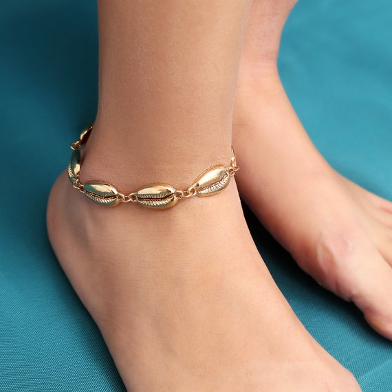 Bohemia Conch Shell Anklet -  Cowry Collar Ankle - Cowrie Beach Anklet for Women and Girls