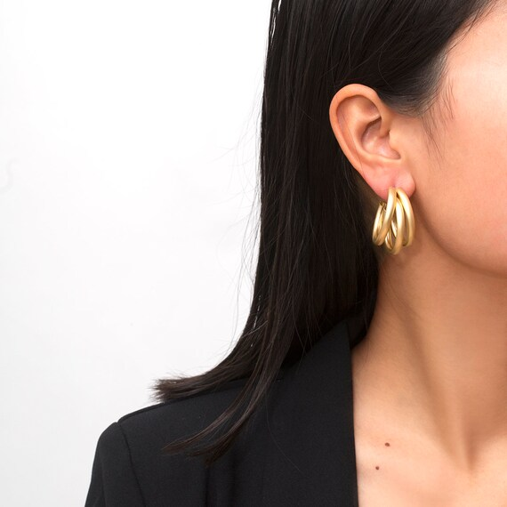 Geometric Gold Silver Plated Hoop Earrings - Chic Triple Circle RoundTube Statement Loop Earrings