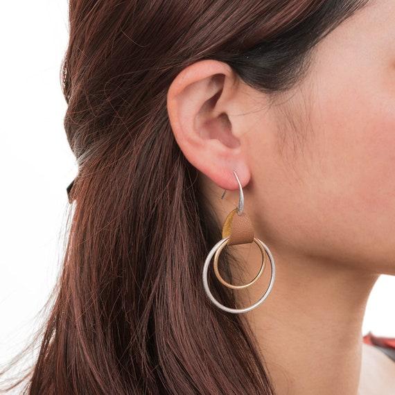 Geometric Leather Hanger Dangling Hoop Earrings