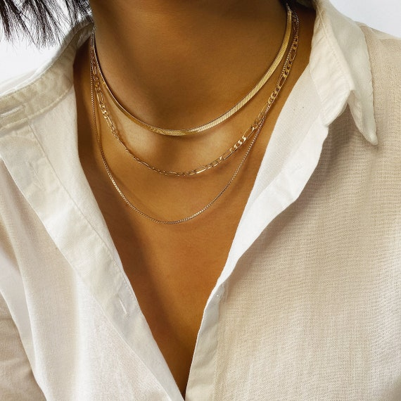 Multi-layer Gold Silver Tone Dainty Chain Choker Necklace