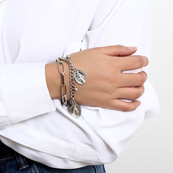 Trendy Layered Curb Link Chain Relief Pendant Bracelet