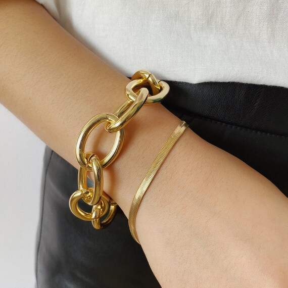 2 PCS Trendy Gold Tone Curb Link Chain Bracelet Set
