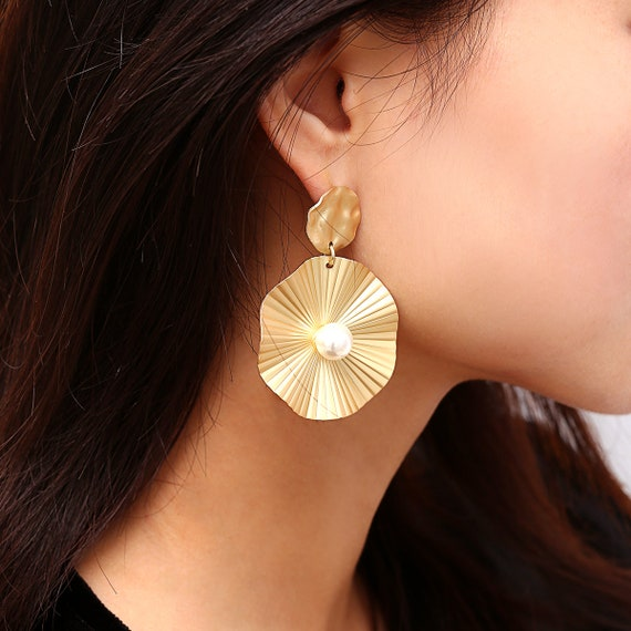Geometric Gold Silver Tone Lotus Leaf Dangle Earrings with Natural Pearl for Women and Girls