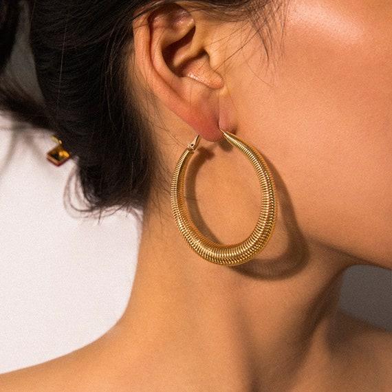 Geometric Gold Silver Tone Spring Design Chunky Circle Hoop Earrings