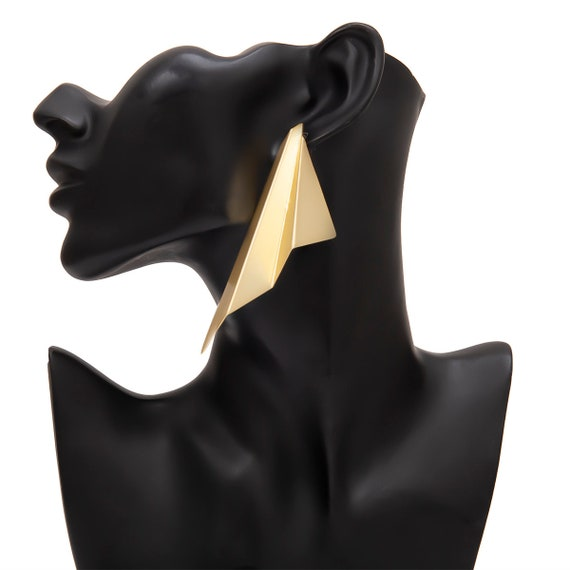 Geometric Gold Silver Tone Origami Abstract Pattern Oversize Earrings