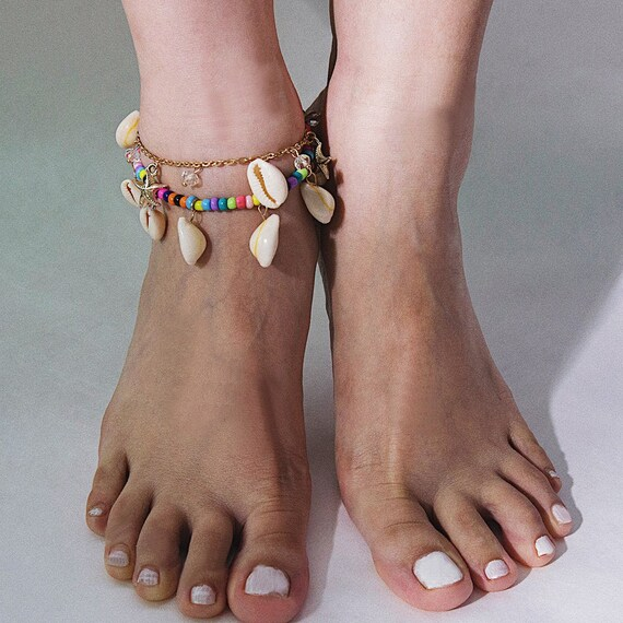 Hawaiian Jamaican Style Cowry Anklet Natural Cowrie Beads Shell Anklet Boho Conch Pendant Beach Foot Jewelry