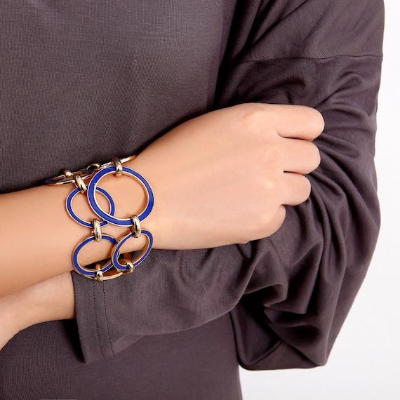 Geometric Cobalt Blue Chunky Ring Chain Bracelet