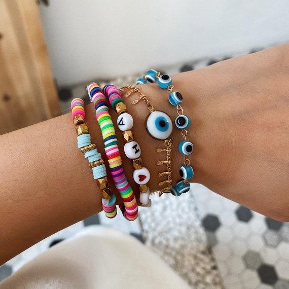 Boho Beaded Bracelet Sets - Turquoise Beaded Evil Eye Bracelet Set - Bohemian Elastic Colorful Bracelet Set