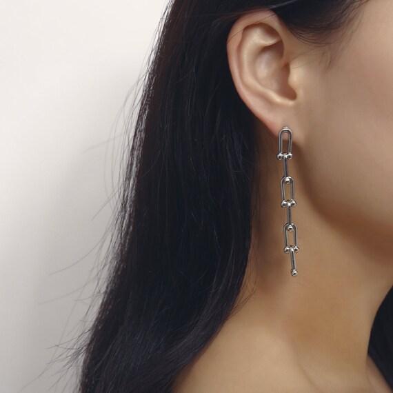 Geometric Gold Silver Tone Metal Chain Dangle Earrings