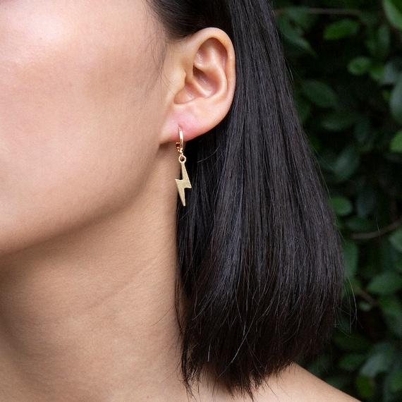Geometric Dainty Gold Silver Tone Lightening Bolt Hoop Earrings