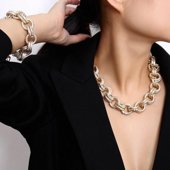 Boho Gold Tone Metal Chain Choker Necklace & Bracelet Set