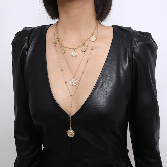 Multi-layer Relief Coin Tassel Long Chain Round Disk Pendant Choker Necklace