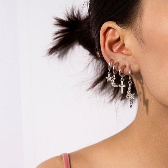 8 Pieces Celestial Gold Silver Tone Star Moon Lightening Bolt Cross Charm Dangle Hoop Earrings Set