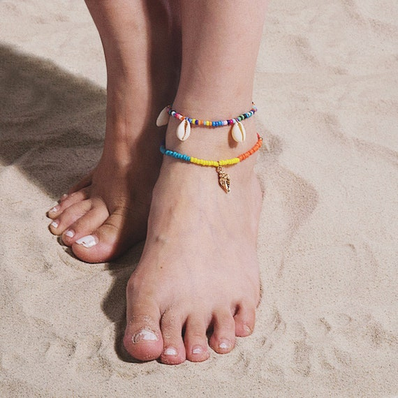 Natural Cowry Shell Tassel Seed Beaded Chain Anklet Set