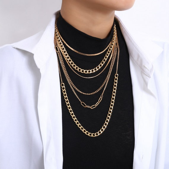 Multi-layer Gold Silver Tone Long Chain Choker Necklace