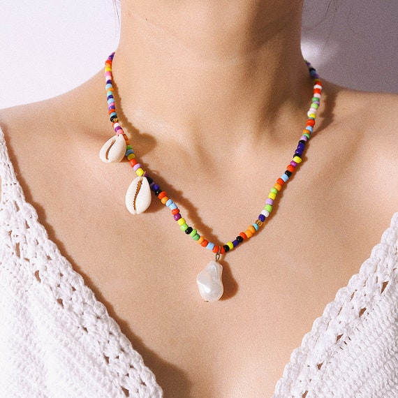 Bohemian Pearl Pendant Beaded Chain Necklace - Vintage Shell Pendant Beaded Choker Necklace - Boho Jewelry for Women and Girls