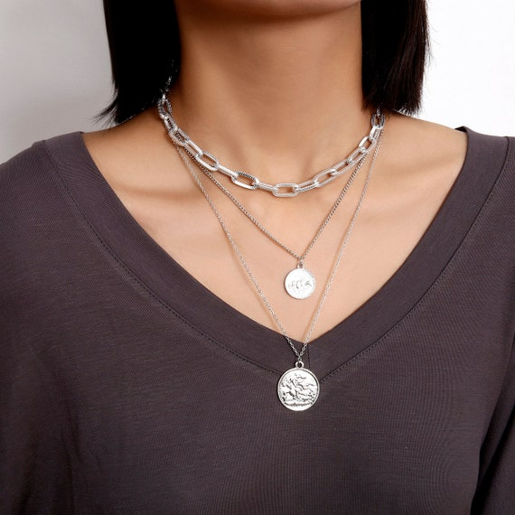 Multi-layer Gold Silver Tone Curve Ring Chain Round Disc Pendant Choker Necklace
