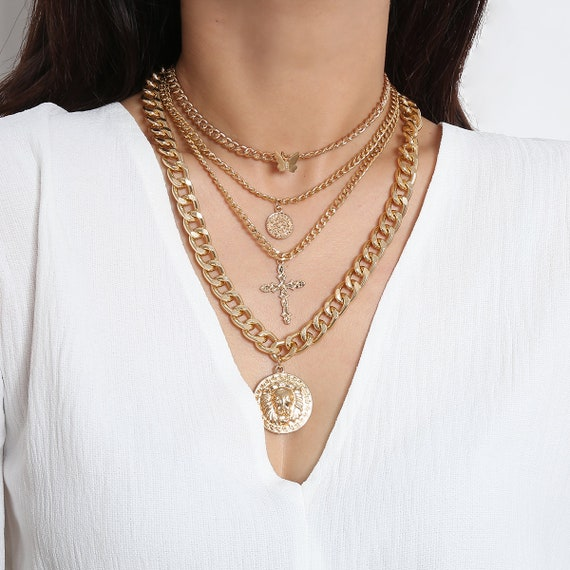Multi-layer Gold Silver Tone Embossed Disk Pendant Cross & Butterfly Choker Necklace