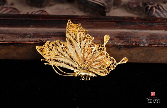 Gold Plated Sterling Silver Handmade Filaments Inlaid Butterfly Brooch