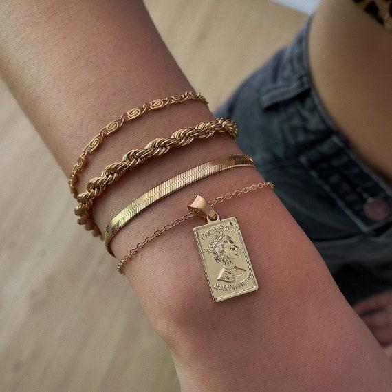 4 Pcs Trendy Gold Silver Tone Curb Link Chain Bracelet Set