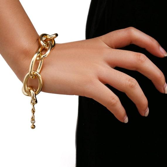 Chunky Curb Link Chain Bracelet - Elegant Gold Tone Big Ring Chain Bracelet