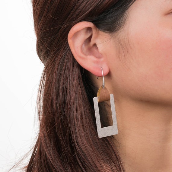 Geometric Leather Hanger Rectangle Dangling Hoop Earrings