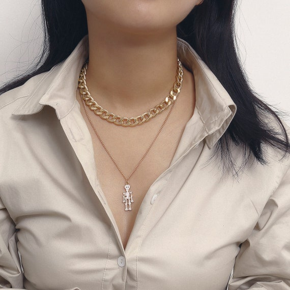 Multi-layer Curb Link Chain Skeleton Pendant Choker Necklace