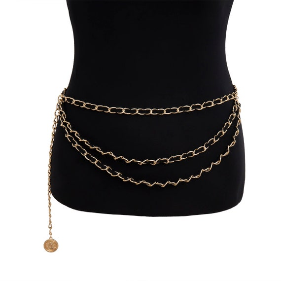 Multi-layer Curb Link Velvet Interwoven Waist Chain - Fashion Relief Round Disk Pendant Layered Belly Chain