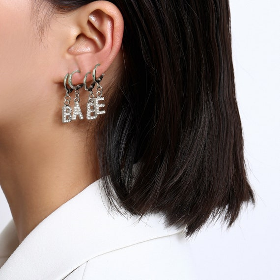 4 Pieces Gold Silver Tone BABE Letter Dangle Hoop Earrings Set