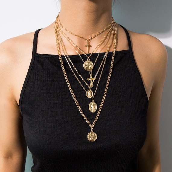 Multi-layer Gold Silver Tone Embossed Round Coin & Cross Pendant Choker Necklace
