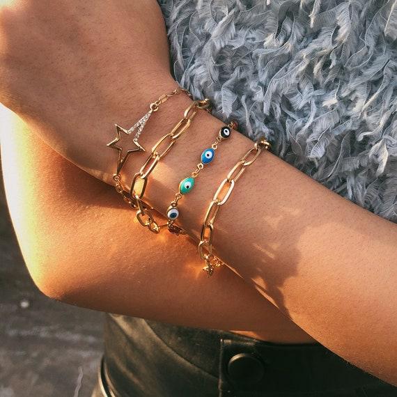 4 PCS Chic Gold Tone Curb Link Chain Celestial Bracelet Set