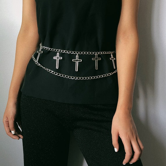 Multi-layer Gold Silver Tone Hollow Cross Pendant Waist Chain - Layered Wave Tassel Cross Charm Chain Belt - Sexy Metal Belly Chain