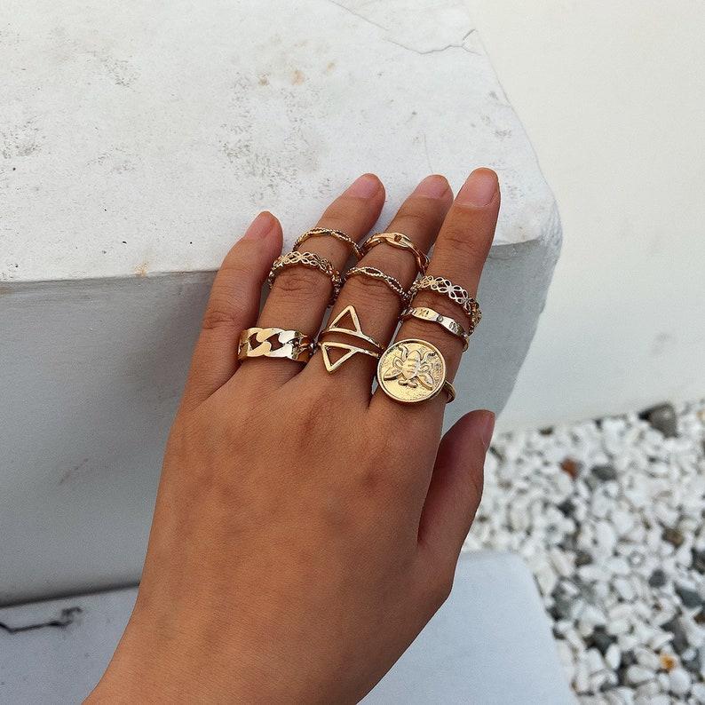Boho Gold Tone 9 Pieces Ring Set