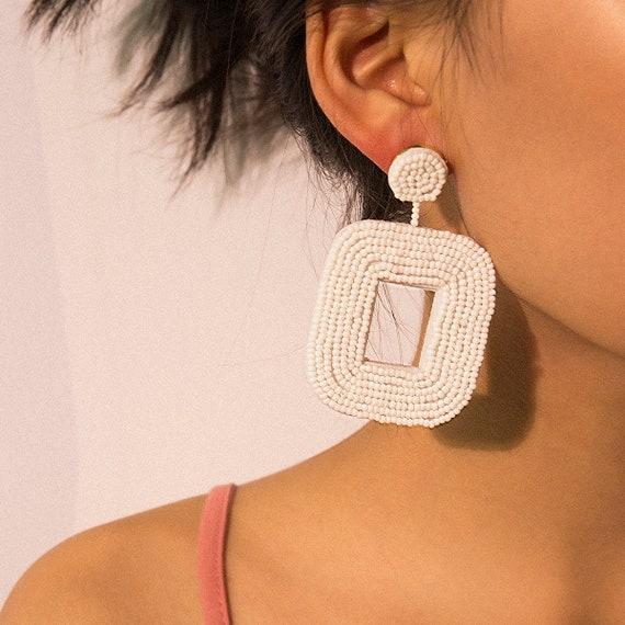 Geometric Handwoven Seed Bead Hollow Square Chunky Earrings
