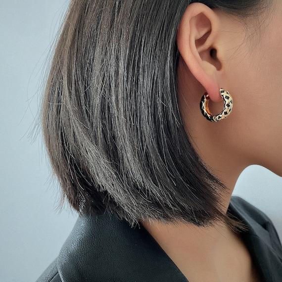 Dainty Enamel Round Hoop Earrings -  Minimalist Gold Tone Geometric Pattern Loop Earrings - Statement Earrings for Women and Girls