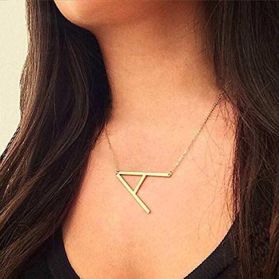 Stainless Steel Sideways Large Alphabet Necklace - Initial Necklace -  Big Letter Monogram Pendant Necklace