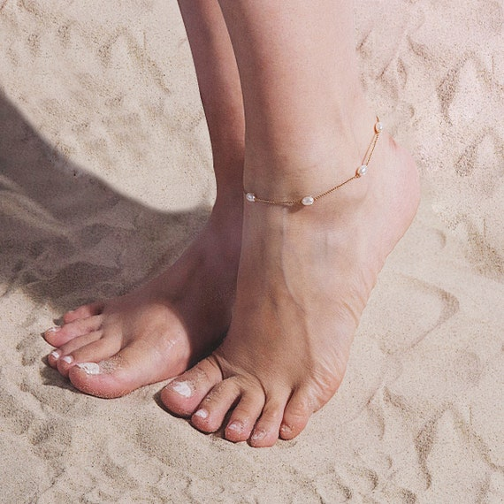 Dainty Beaded Pearl Chain Anklet