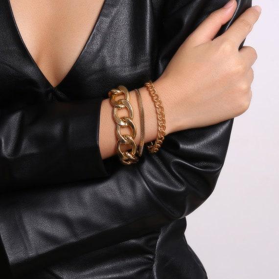 3 PCS Chic Gold Tone Curb Link Chain Bracelet Set