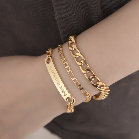 3 Pcs Gold Silver Tone Curb Link Chain Bracelet Set