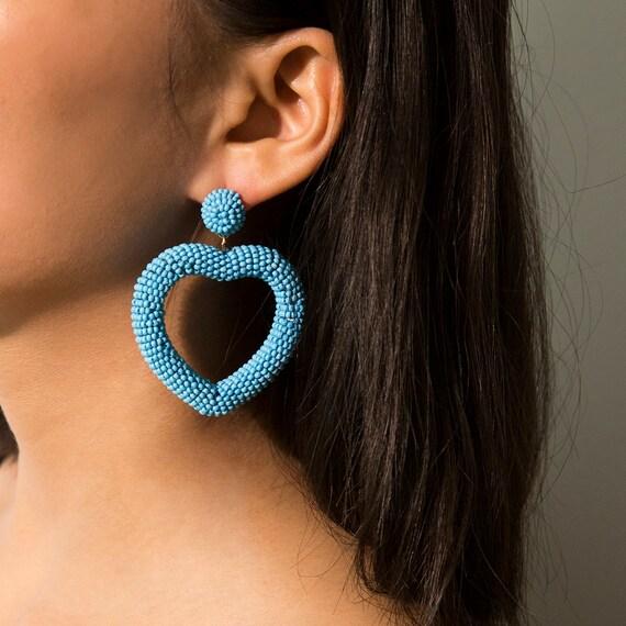 Chic Handmade Seed Bead Heart Dangle Earrings