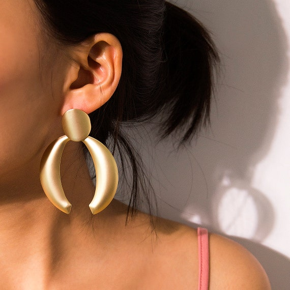 Geometric Chunky Gold Silver Tone Abstract Pattern Dangle Earrings
