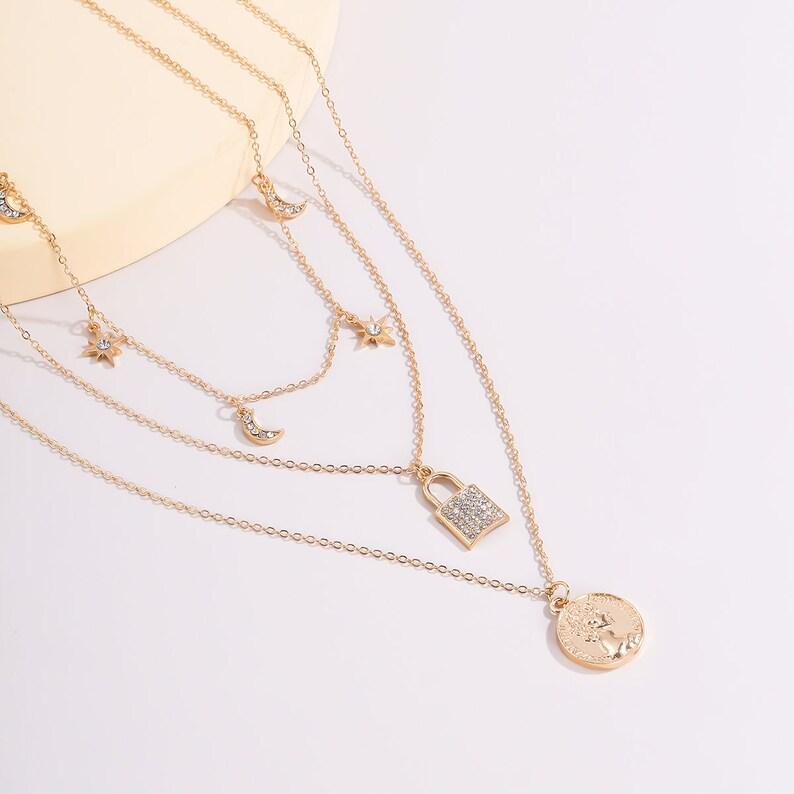 Boho Layered Crystal Inlaid Lock /& Celestial Charm Pendant Choker Necklace Set