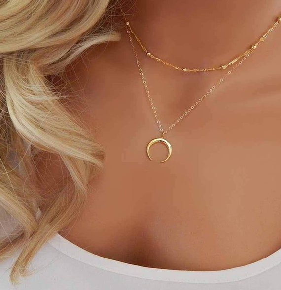 Dainty Moon Phase Layered Pendant Necklace - Minimalist Gold Silver Tone Layered Necklace - Multi-layer Moon Pendant Choker Necklace