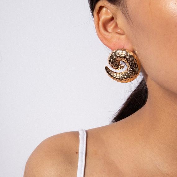 Geometric Gold Silver Tone Large Hammered Celestial Dangling Hoop Earrings