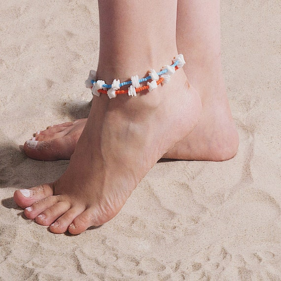Boho Conch Shell Seed Beaded Chain Anklet - Beach Foot Jewelry for Women and Girls