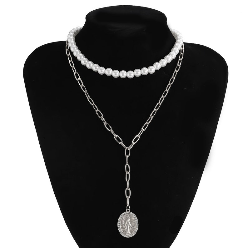 Bohemian Embossed Oval Disc Pendant Beaded Pearl Choker Necklace Set