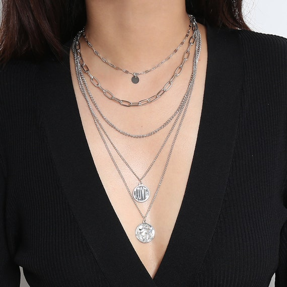 Multi-layer Dainty Curb Link Chain Embossed Round Disk Pendant Choker Necklace