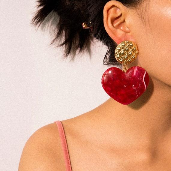 Geometric Big Heart Dangle Earrings - Boho Acrylic Marble Heart Drop Earrings